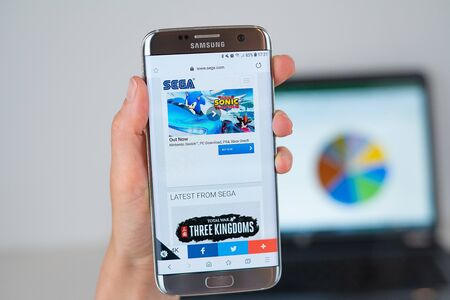 Barcelona / Spain 06 10 2019: Sega web site on mobile phone screen. Mobile version of Sega company web page on smartphone. Official web page of Sega.