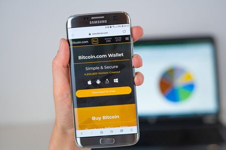 Barcelona / Spain 06 10 2019: Bitcoin web site on mobile phone screen. Mobile version of Bitcoin company web page on smartphone. Official web page of Bitcoin.