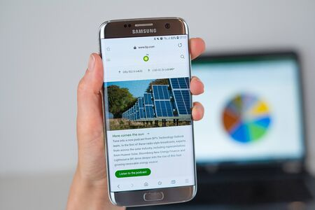 Barcelona / Spain 06 10 2019: BP web site on mobile phone screen. Mobile version of BP company web page on smartphone. Official web page of BP.