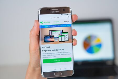 Barcelona / Spain 06 10 2019: AirDroid web site on mobile phone screen. Mobile version of AirDroid company web page on smartphone. Official web page of AirDroid.