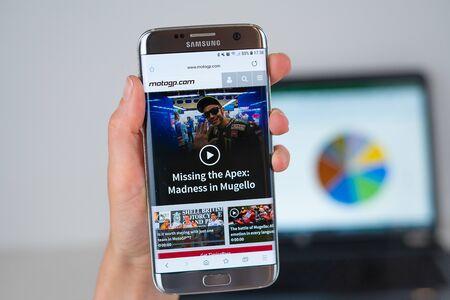 Barcelona / Spain 06 10 2019: MotoGP web site on mobile phone screen. Mobile version of MotoGP company web page on smartphone. Official web page of MotoGP. 報道画像