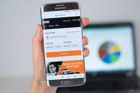 Barcelona / Spain 06 10 2019: Sixt web site on mobile phone screen. Mobile version of Sixt company web page on smartphone. Official web page of Sixt.