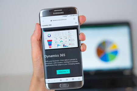 Barcelona / Spain 06 10 2019: Microsoft Dynamics 365 web site on mobile phone screen. Mobile version of Dynamics 365 company web page on smartphone. Official web page of Dynamics 365.