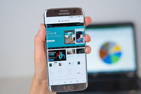 Barcelona / Spain 06 10 2019: Corel web site on mobile phone screen. Mobile version of Corel company web page on smartphone. Official web page of Corel.