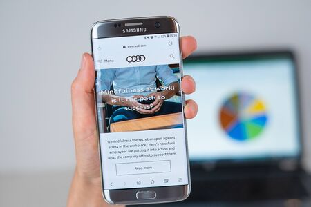 Barcelona / Spain 06 10 2019: Audi web site on mobile phone screen. Mobile version of Audi company web page on smartphone. Official web page of Audi.