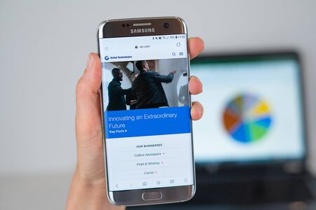 Barcelona / Spain 06 10 2019: United Technologies web site on mobile phone screen. Mobile version of United Technologies company web page on smartphone. Official web page of UTC.
