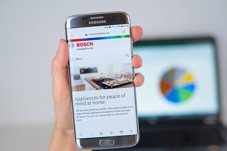 Barcelona / Spain 06 10 2019: Bosch web site on mobile phone screen. Mobile version of Bosch company web page on smartphone. Official web page of Bosch.