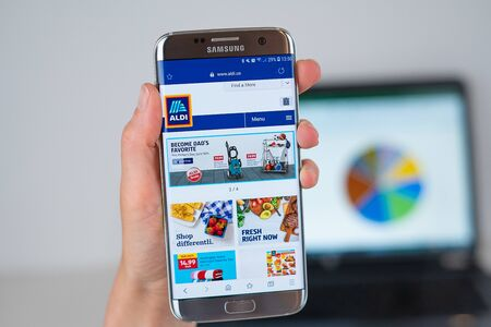 Barcelona / Spain 06 10 2019: Aldi web site on mobile phone screen. Mobile version of Aldi company web page on smartphone. Official web page of Aldi.