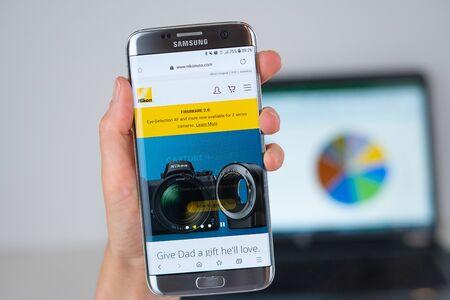 Barcelona / Spain 06 10 2019: Nikon USA web site on mobile phone screen. Mobile version of Nikon USA company web page on smartphone. Official web page of Nikon USA.