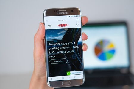 Barcelona / Spain 06 10 2019: Dupont web site on mobile phone screen. Mobile version of Dupont company web page on smartphone. Official web page of Dupont.