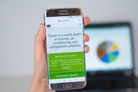 Barcelona / Spain 06 10 2019: Carrier.com web site on mobile phone screen. Mobile version of Carrier company web page on smartphone. Official web page of Carrier.com.