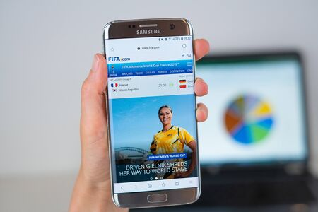 Barcelona / Spain 06 10 2019: FIFA web site on mobile phone screen. Mobile version of fifa web page on smartphone. Official web page of fifa.