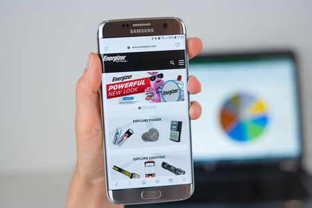 Barcelona / Spain 06 10 2019: Energizer web site on mobile phone screen. Mobile version of Energizer company web page on smartphone. Official web page of Energizer.