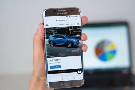 Barcelona / Spain 06 10 2019: Hyundai web site on mobile phone screen. Mobile version of Hyundai company web page on smartphone. Official web page of Hyundai.