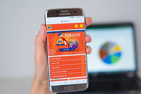 Barcelona / Spain 06 10 2019: Tide web site on mobile phone screen. Mobile version of Tide company web page on smartphone. Official web page of Tide.
