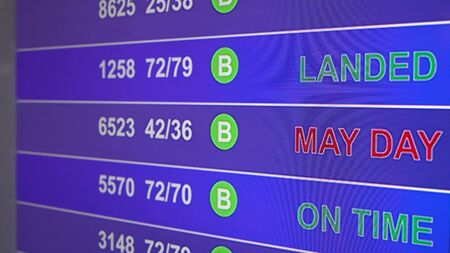 Information board in airport, arrivals scoreboard with info - May Day. Illustration for news about plane crash, breakdown, accidents. inscription on the scoreboard is blinking - May Day