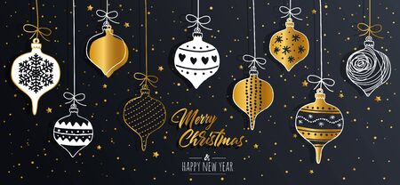 Merry Christmas greeting card set with golden text elements and modern hand drawn baubles. Vector illustration. Çizim