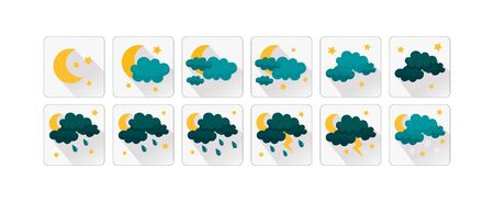Weather vector icons flat design