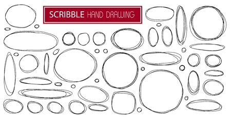 Hand drawn set scribble symbols isolated line circle on white background.