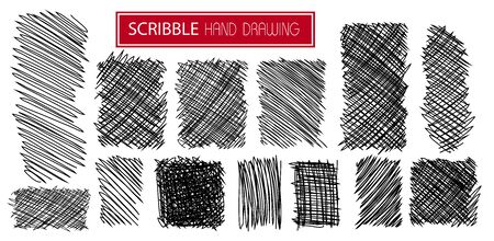 Set of hand drawn scribble symbols isolated on white. Doodle style sketches. Shaded and hatched badges. Monochrome vector design elements.