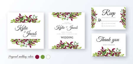 Wedding Invitation, menu card, table number, thank you, rsvp. Floral design with green and red (burgundy) fern leaves, foliage greenery decorative frame print. Vector elegant cute rustic greeting Ilustracja