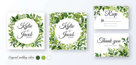 Wedding Invitation, thank you, rsvp card. Floral design with green watercolor fern leaves, foliage greenery decorative frame print. Vector elegant cute rustic greeting, invite, postcard