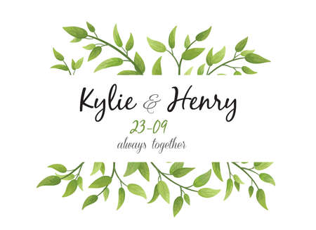 Wedding Invitation, save the date card floral Design with green watercolor fern leaves, foliage greenery decorative frame print. Vector elegant cute rustic greeting, invite, postcard