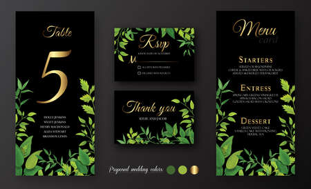 Black wedding Invitation, menu card, table number, thank you, rsvp. Floral design with green leaves, foliage greenery decorative frame print. Vector elegant cute rustic greeting Ilustracja