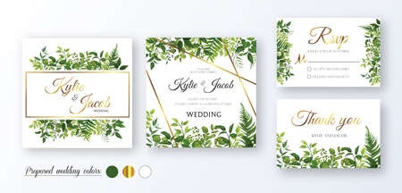 Gold wedding Invitation, thank you, rsvp card. Floral design with green watercolor fern leaves, foliage greenery decorative frame print. Vector elegant cute rustic greeting, invite, postcard