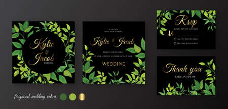 Black wedding Invitation square, menu card, table number, thank you, rsvp. Floral design with green leaves, foliage greenery decorative frame print. Vector elegant cute rustic greeting