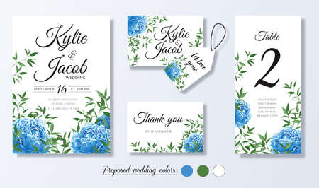 Wedding invite, personal menu, thank you, label, table number card design with elegant blue peony flowers, natural branches, green leaves, herbs. Vector romantic template set.