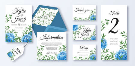 Wedding invite, menu, rsvp, information, thank you, label, save the date card, table number, envelope. Design with blue peony flowers, natural branches, green leaves, herbs. Vector cute rustic layout
