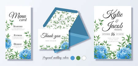 Wedding invite, personal menu, thank you, table number card design set with elegant blue peony flowers, natural branches, green leaves, herbs. Romantic rustic set. Vector decorative elegant.