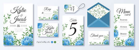 Wedding invite, menu, rsvp, thank you, label, save the date card, table number, envelope. Design with blue peony flowers, natural branches, green leaves, herbs. Vector cute rustic delicate chic layout