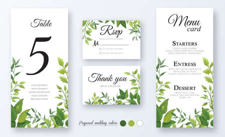 Wedding Invitation, menu card, table number, thank you, rsvp. Floral design with green watercolor fern leaves, foliage greenery decorative frame print. Vector elegant cute rustic greeting, invite Ilustracja