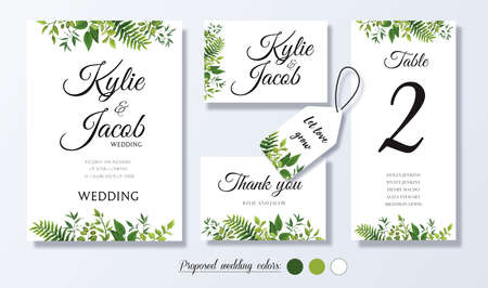 Wedding invite, personal menu, thank you, label, table number card design with natural branches, green leaves, fern, herbs. Vector romantic template set.