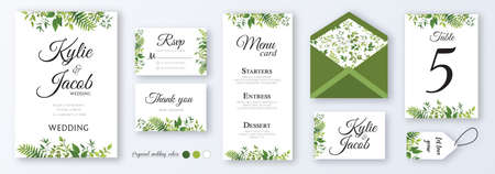 Wedding invite, menu, rsvp, thank you, label, save the date card, table number, envelope. Design with natural branches, green leaves, herbs. Vector cute rustic delicate chic layout