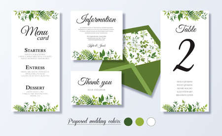 Wedding menu card, information, thank you, table number, Floral design with green watercolor leaves, white flower, foliage greenery decorative frame print. Vector elegant cute rustic greeting, invite Vettoriali