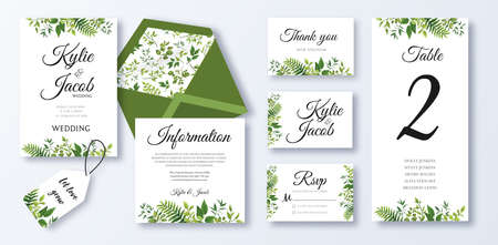 Wedding Invitation, menu, rsvp, information, thank you, label, save the date card, table number, envelope. Floral design with green watercolor leaves, white rose flower greenery decorative frame print