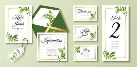 Wedding rsvp, information, thank you, envelope. Floral design with green and gold watercolor leaves decorative frame print. Vector elegant cute rustic greeting, invite, postcard Ilustracja