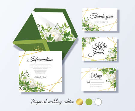 Wedding rsvp, information, thank you, envelope. Floral design with green and gold watercolor leaves, white flower rose decorative frame print. Vector elegant cute rustic greeting, invite, postcard