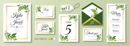 Wedding Invitation, menu, rsvp, label, table number, envelope. Floral design green watercolor fern leaves, foliage greenery decorative frame print. Vector elegant cute rustic greeting, invite postcard Ilustracja