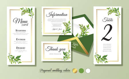 Wedding menu card, information, thank you, table number, envelope. Floral design with green watercolor leaves, foliage greenery decorative frame print. Vector elegant cute rustic greeting, invite. Ilustracja