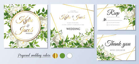Wedding Invitation, thank you and rsvp card. Floral white roses with green fern leaves, foliage greenery decorative gold frame print. Vector elegant cute rustic Ilustracja