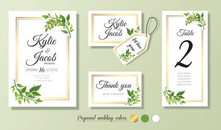 Wedding Invitation, menu, thank you, label, table number card. Floral design with green & gold watercolor leaves decorative frame print. Vector elegant cute rustic greeting, invite, postcard