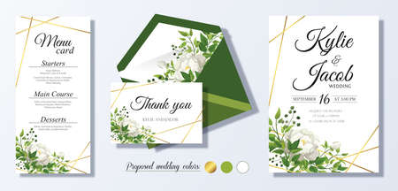 Wedding Invitation, thank you, menu card. Floral design with green and gold watercolor leaves, white flower rose, foliage greenery decorative frame print. Vector elegant cute rustic greeting, invite. Ilustracja