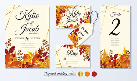 Wedding Invitation, menu, thank you, label, table number card. Leaves design autumn foliage collection oak, maple, chestnut and ash. Decorative frame print. Vector rustic greeting, invite postcard.