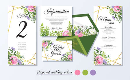 Set watercolor wedding vector template with flower, leaves, gold and line decoration. Floral invitation card, menu, thank you Wild flowers and peony and rose flower. Beautiful greenery plants