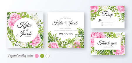 Wedding Invitation, thank you, rsvp card. Floral design with green watercolor leaves, pink and white flower rose, peony foliage greenery decorative print Vector elegant rustic greeting invite postcard
