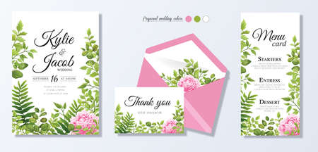 Wedding invite, personal menu, thank you, table number card design set with elegant pink peony flowers, natural branches, green leaves, herbs. Romantic rustic set. Vector decorative elegant.